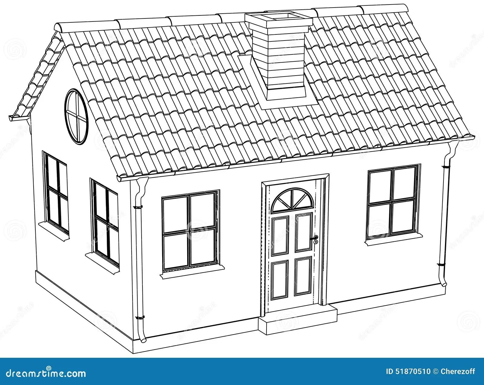 Wire-frame House. Vector Illustration Stock Illustration