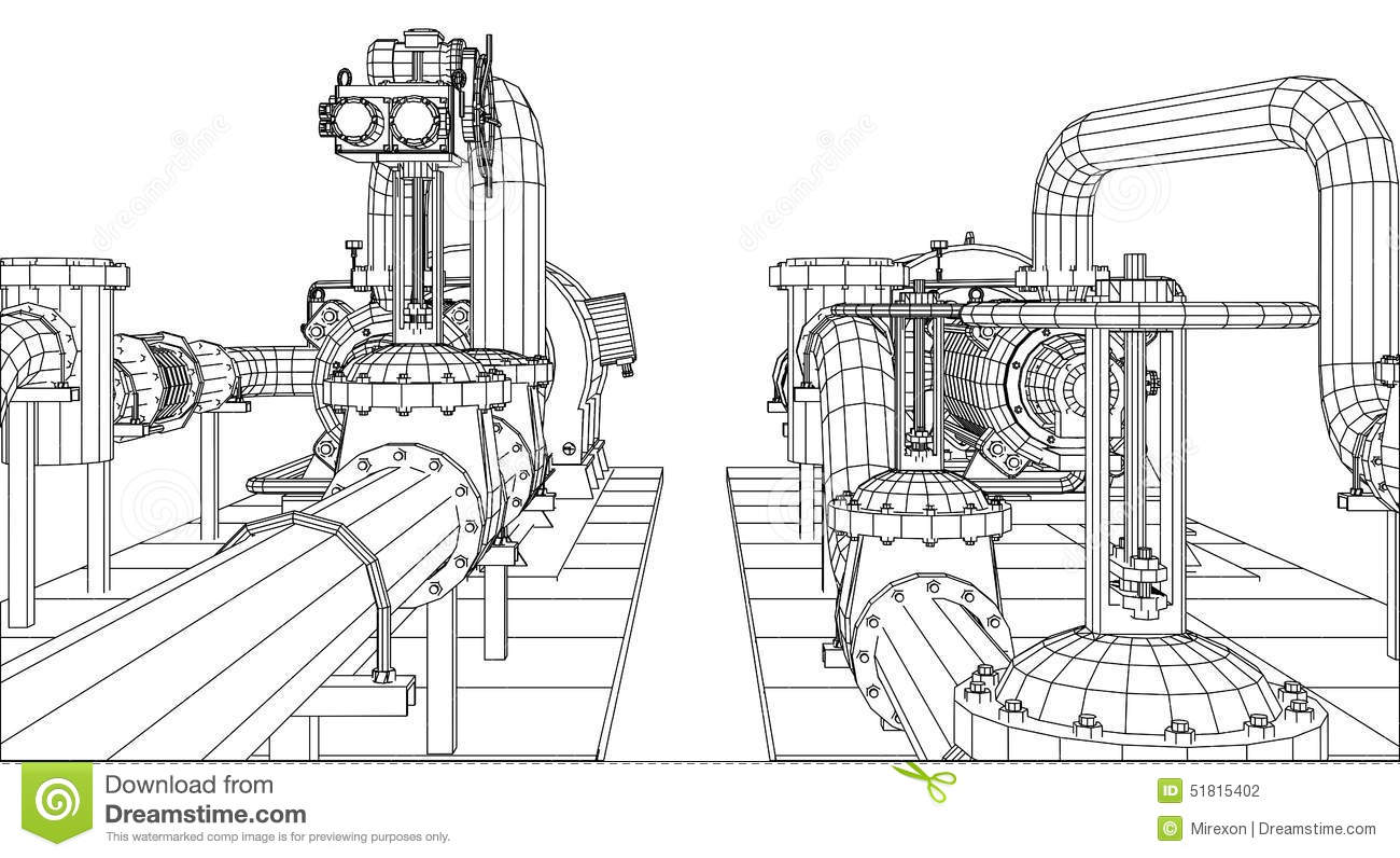 Wire-frame Oil And Gas Industrial Equipment. Vector