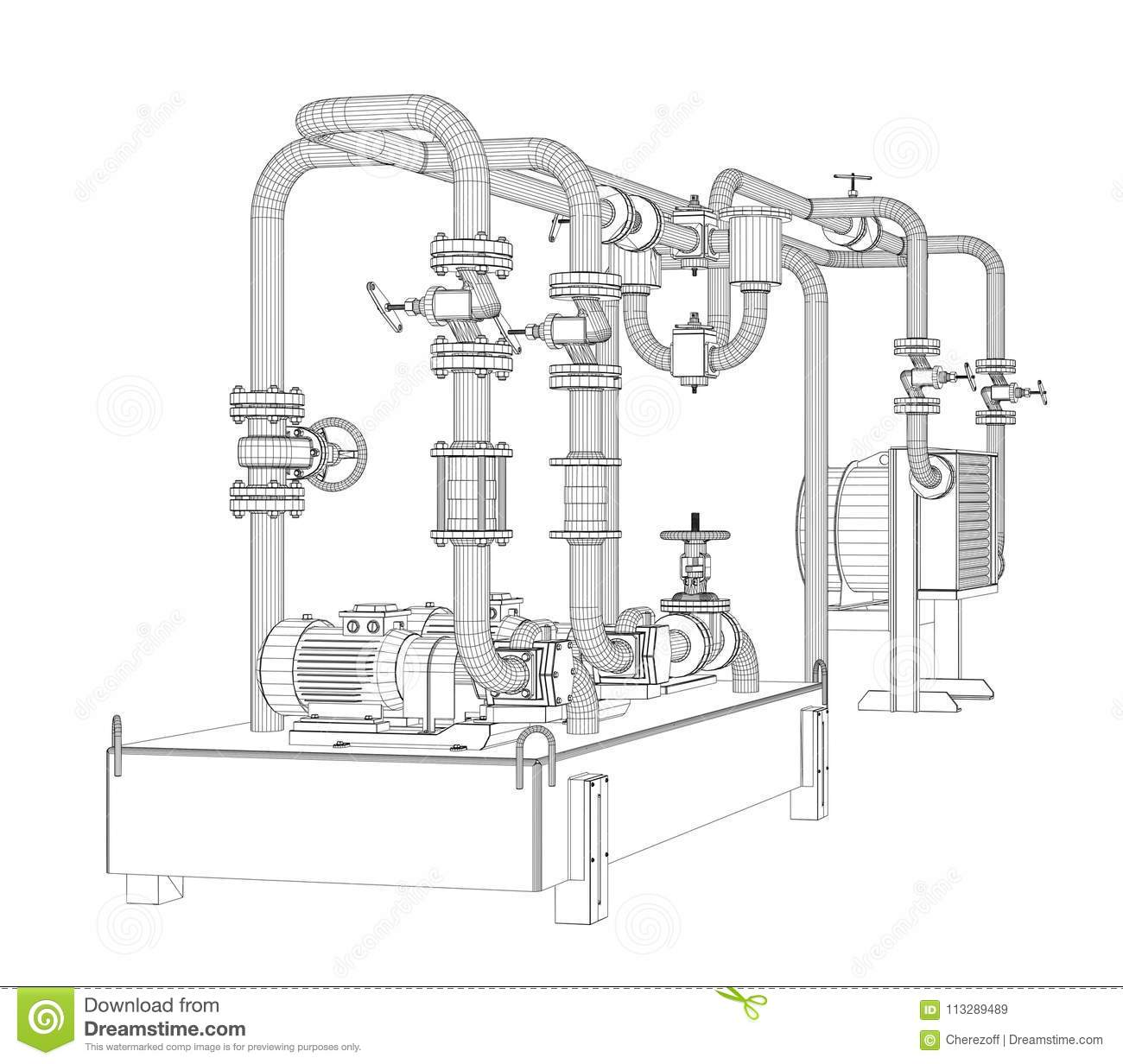hight resolution of wire frame industrial equipment of oil pump