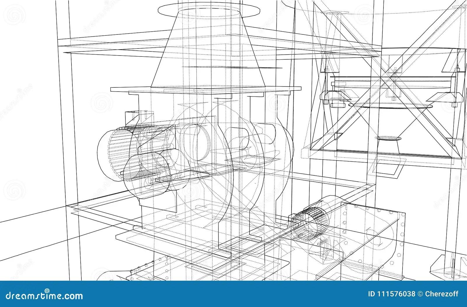 Wire-frame Industrial Equipment. Vector Stock Vector