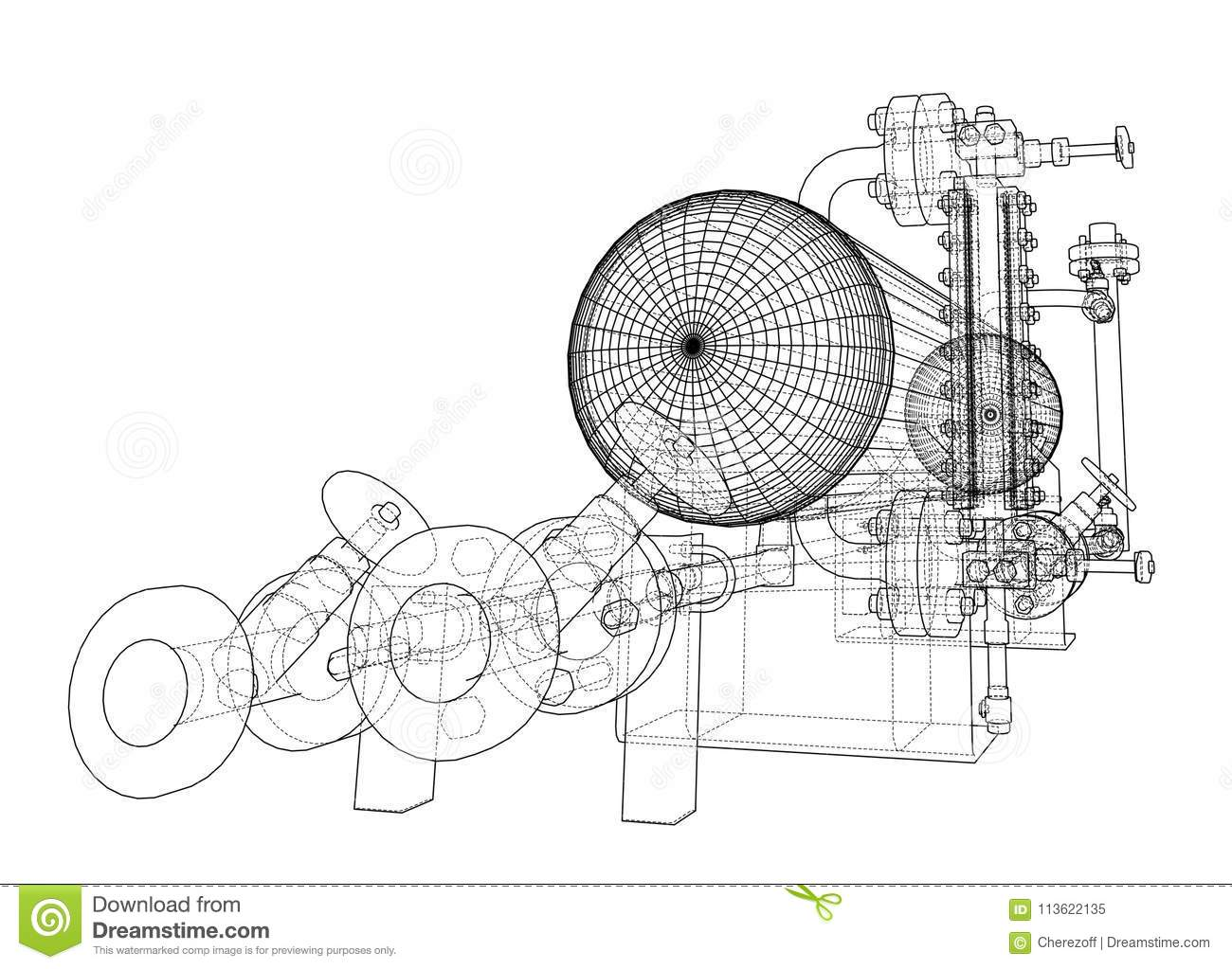 Wire-frame Industrial Equipment Stock Illustration