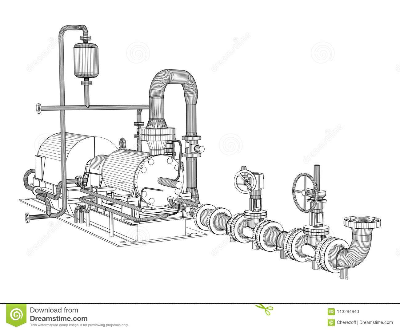 hight resolution of wire frame industrial pump