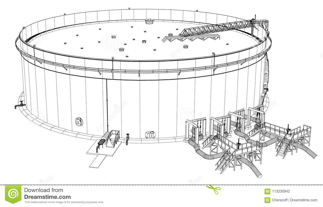 Wire Frame Oil Tank Stock Illustration Illustration Of