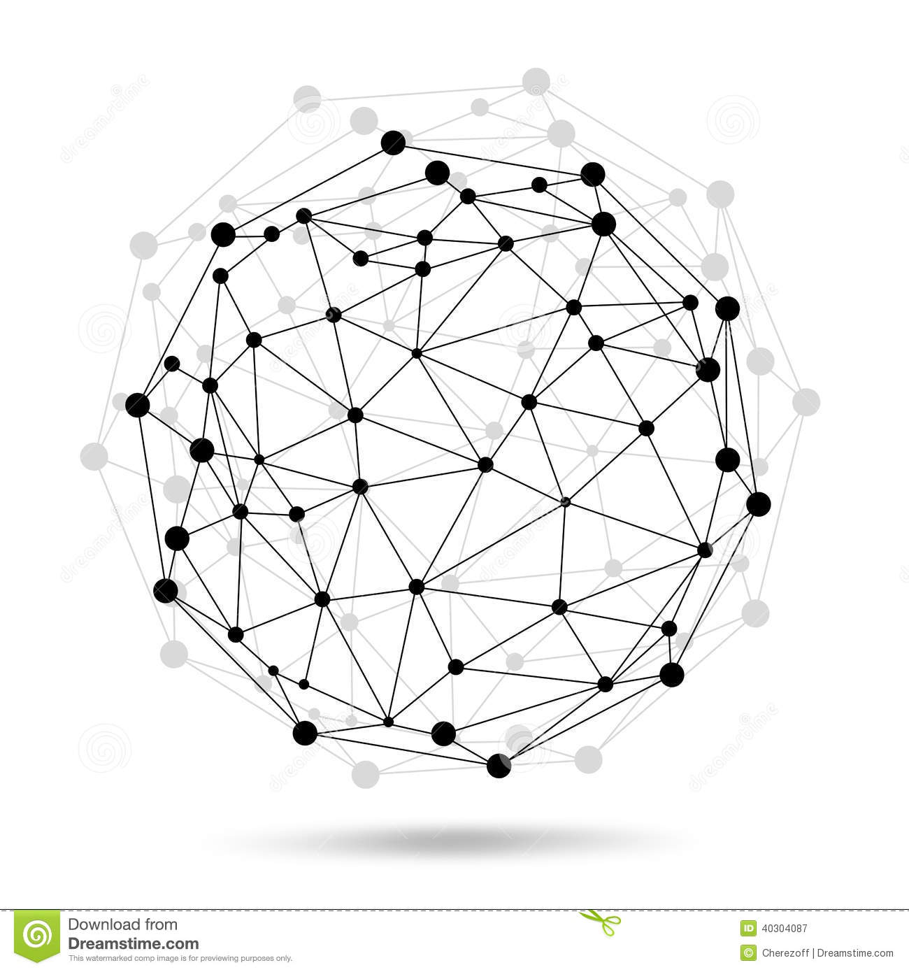 Wire Frame Sphere. Network Concept Stock Illustration