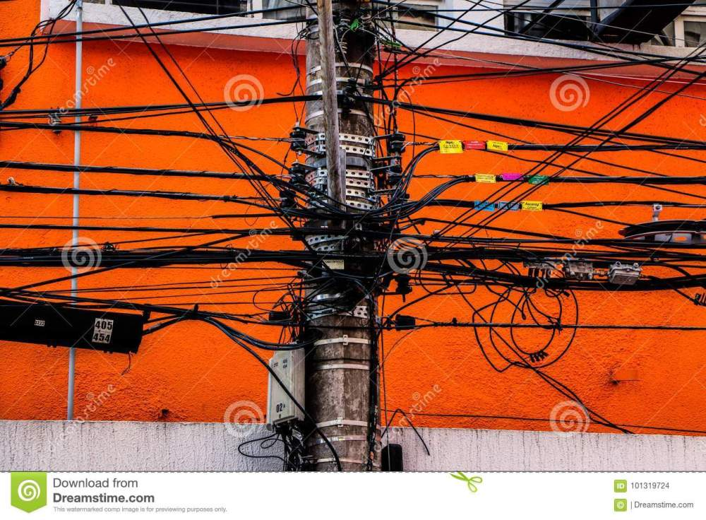 medium resolution of wire messy in a electric pole power light telephone internet and others put together