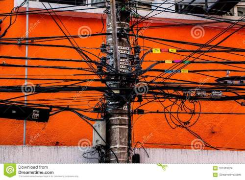 small resolution of wire messy in a electric pole power light telephone internet and others put together
