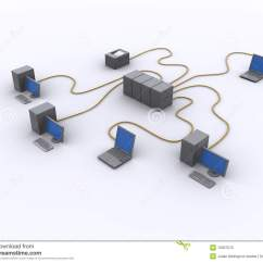 Wired Network Diagram Honda Obd2 Wiring Stock Illustration Image Of