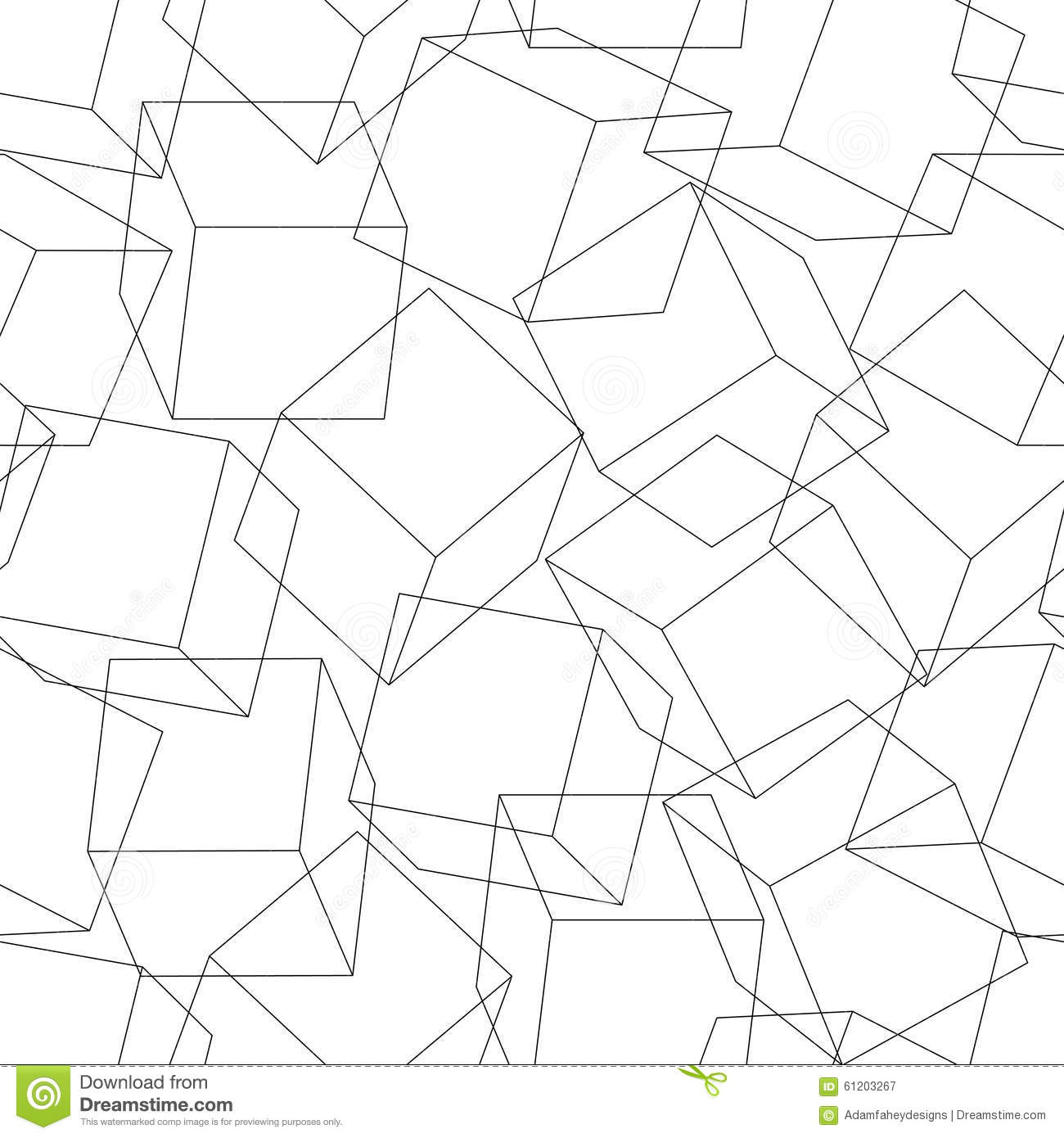 Wireframe 3D Blocks In A Seamless Pattern Stock Vector