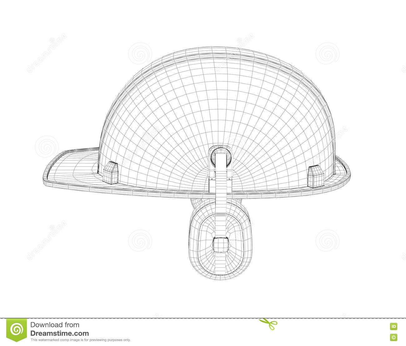 Wireframe Of 3d Model Safety Helmet With Earphones