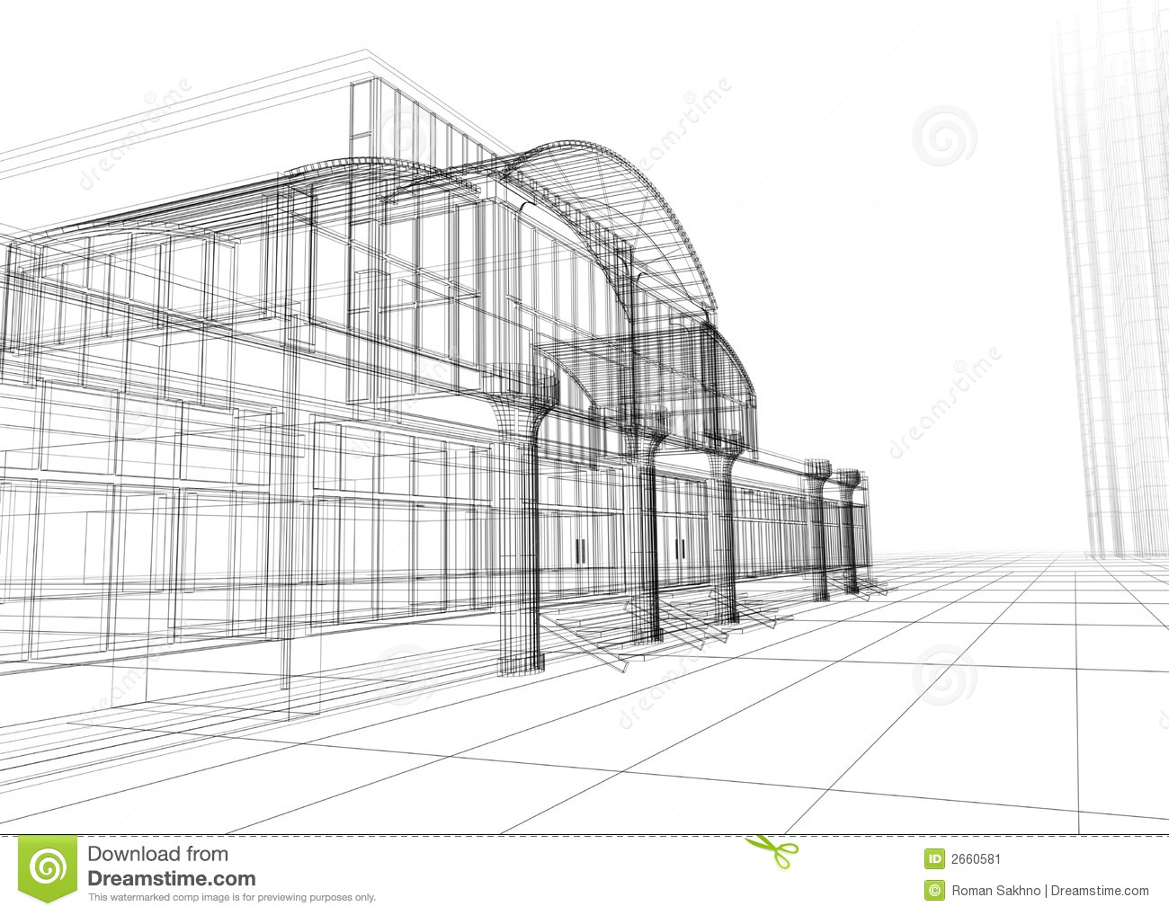 Wireframe Dell Edificio Per Uffici Illustrazione Di Stock