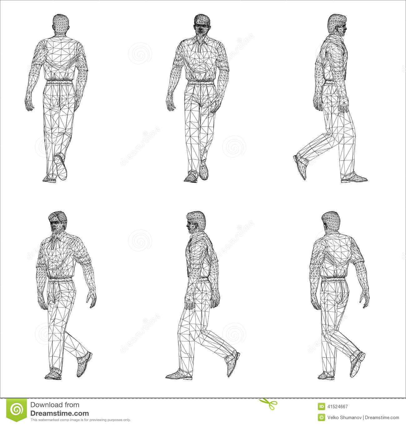 Wireframe design of Man stock illustration. Illustration