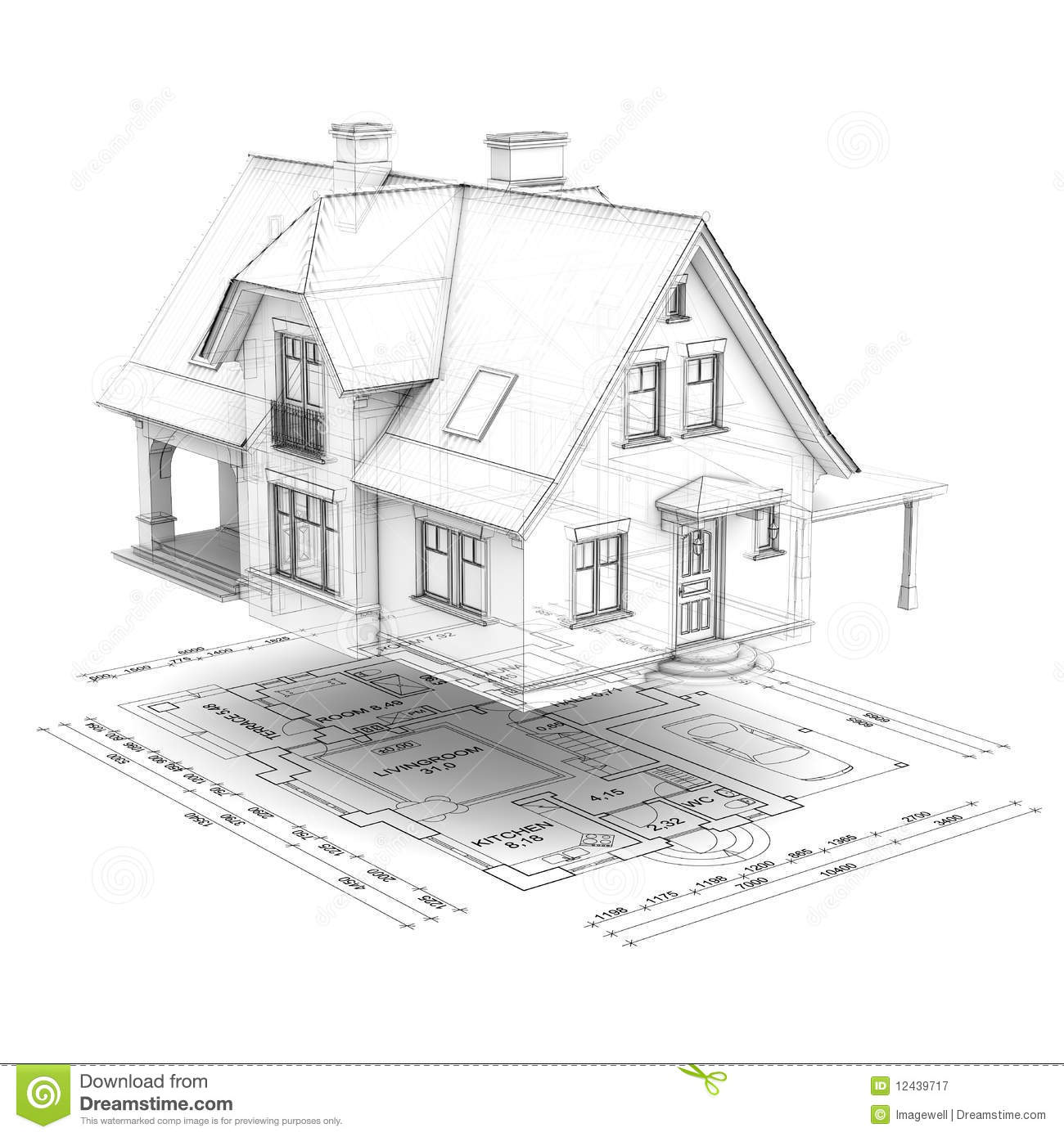 Wireframe House With Floor Plan Royalty Free Stock