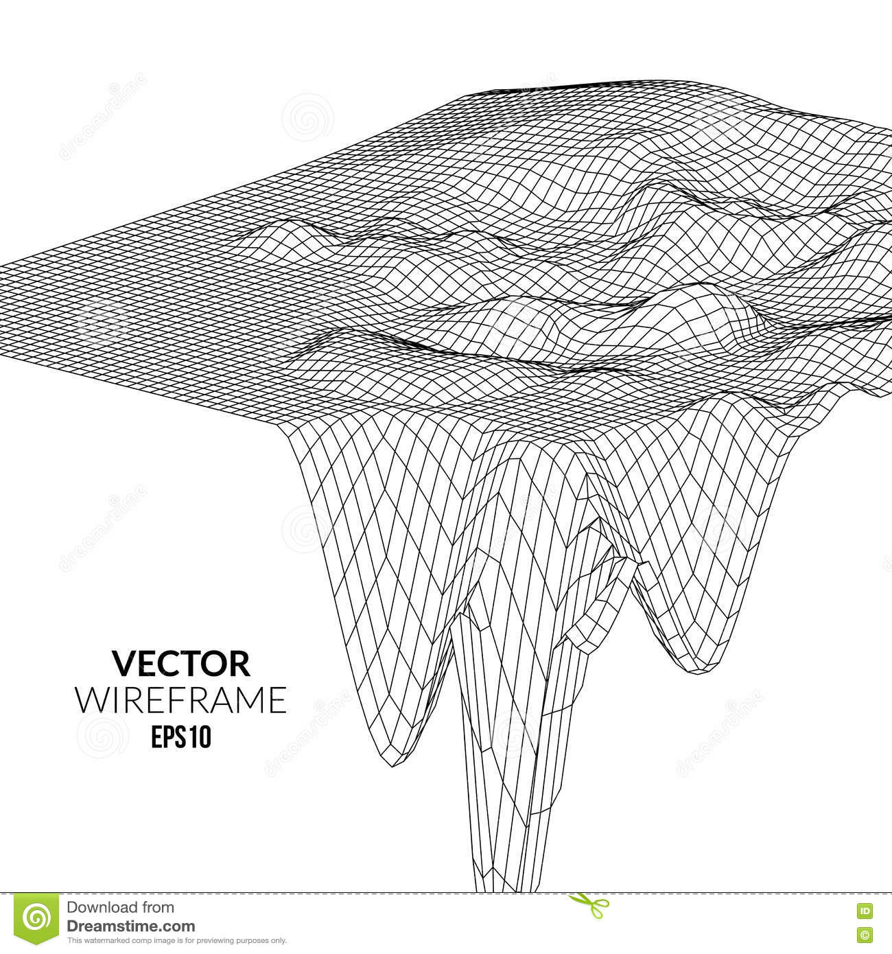 Wireframe Landscape Background Futuristic Landscape With