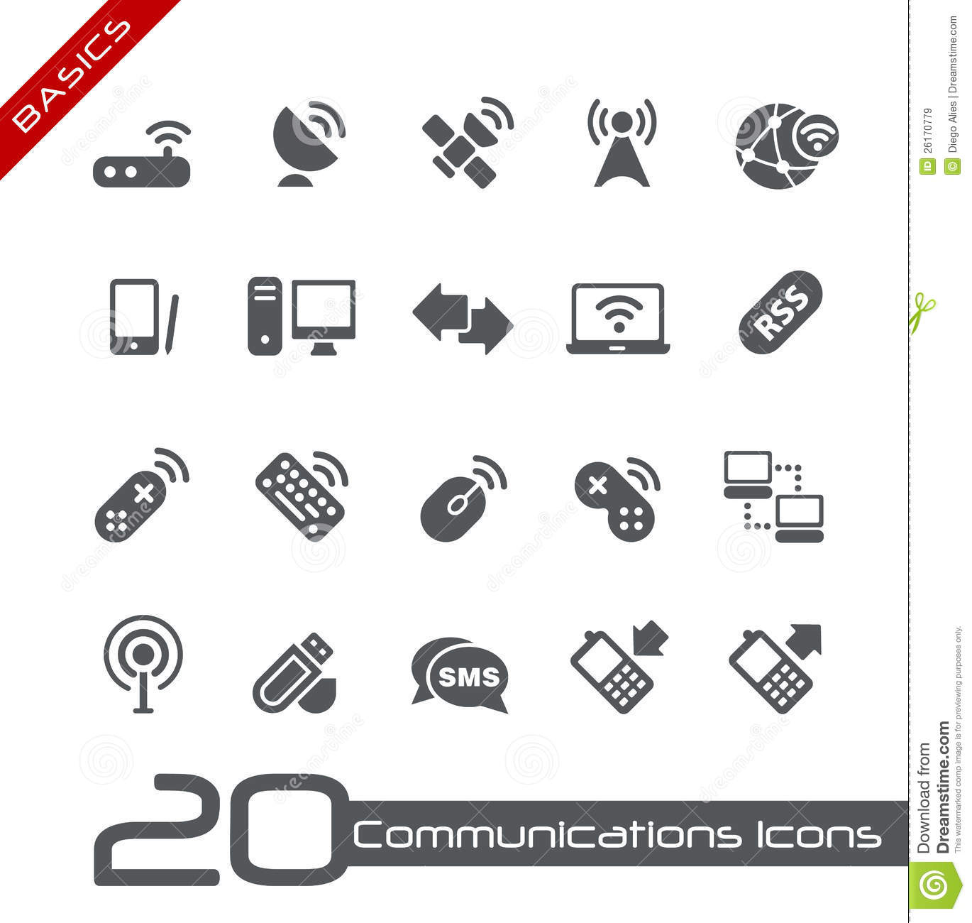 Wireless Communications Icons Basics Stock Vector