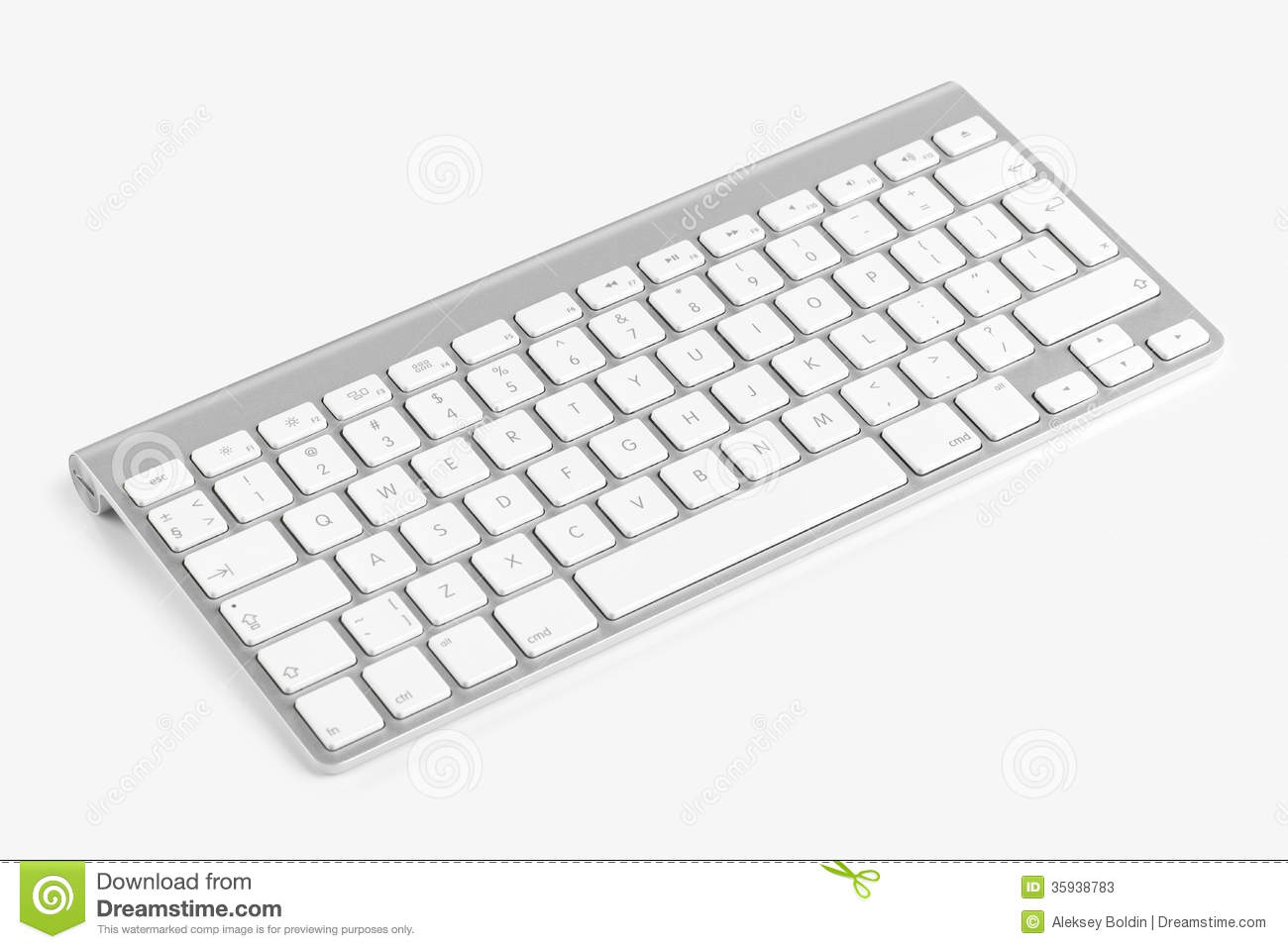 Wireless Computer Keyboard Isolated On White Background