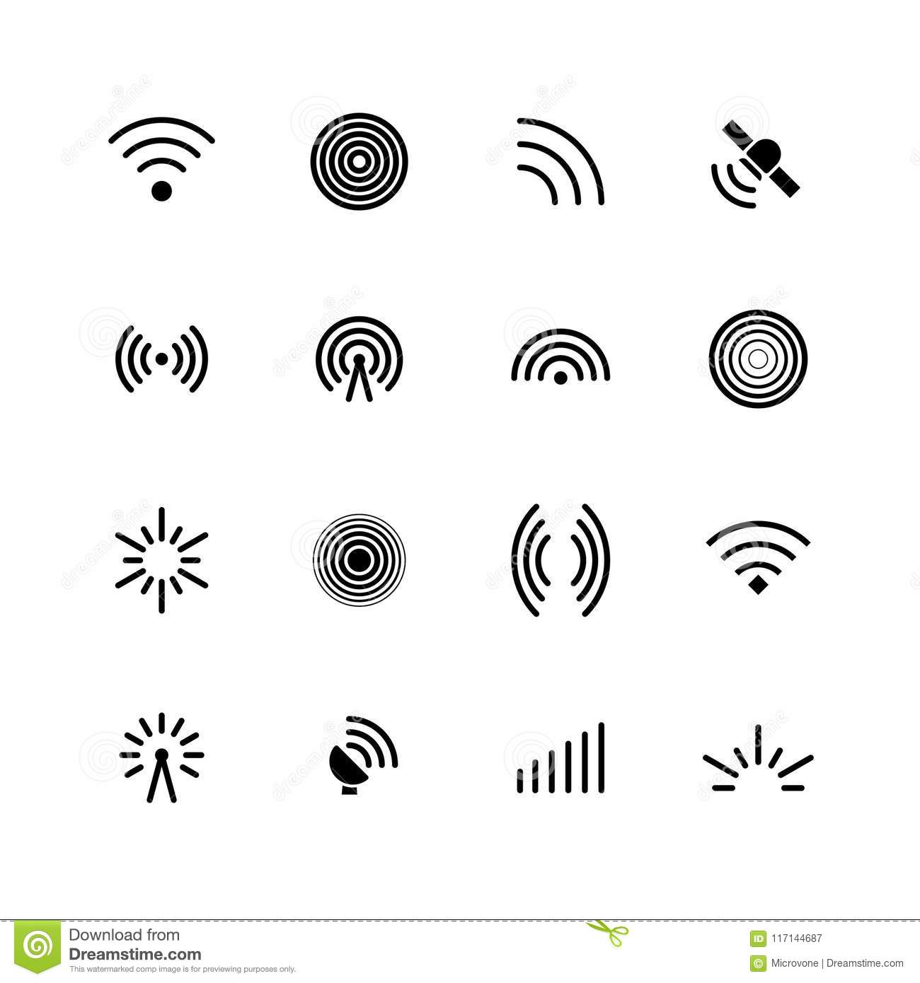 Wireless Wifi And Radio Signals Icons Antenna Mobile