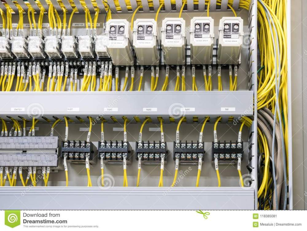 medium resolution of electrical panel at a assembly line factory electricity distribution box wires in electrical cabinet