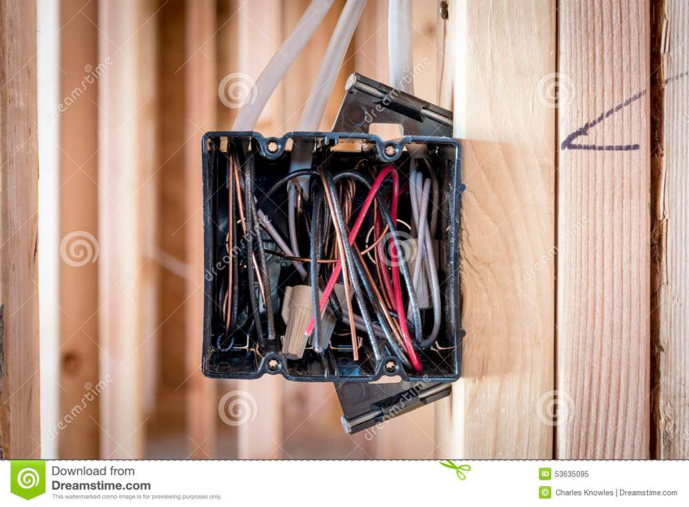medium resolution of wires exposed in an electrical box electrical box in on a construction stie royalty free
