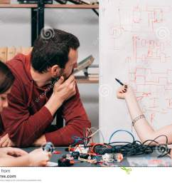 wiring diagram discussing at laboratory young engineers creating new model of electronic construction experimental research of ways of connecting cables  [ 1300 x 957 Pixel ]