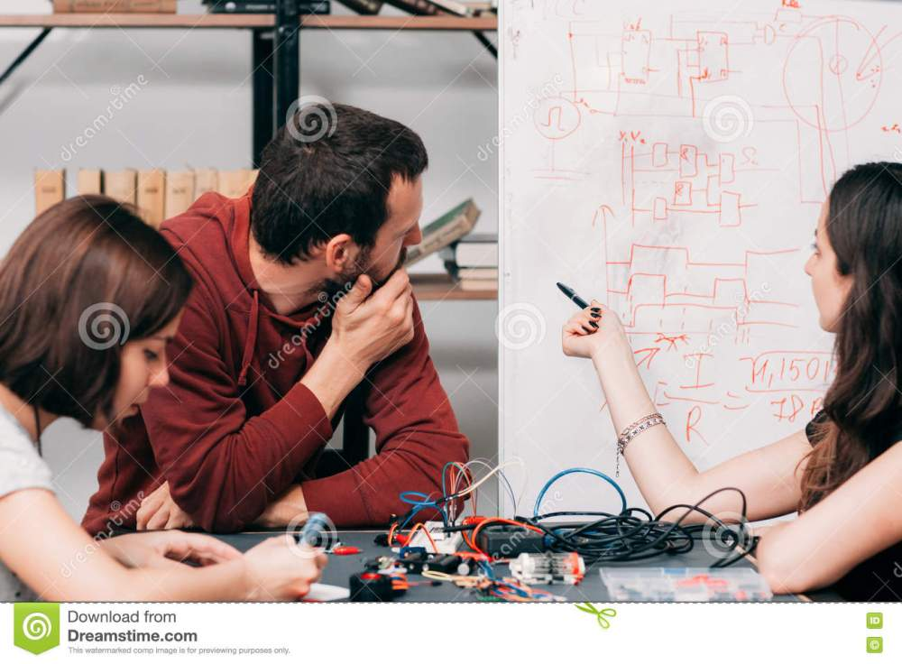 medium resolution of wiring diagram discussing at laboratory young engineers creating new model of electronic construction experimental research of ways of connecting cables
