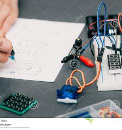 wiring diagram drawing with breadboard electronic construction developing female engineer in laboratory smart woman hobby and electronics concept [ 1300 x 957 Pixel ]