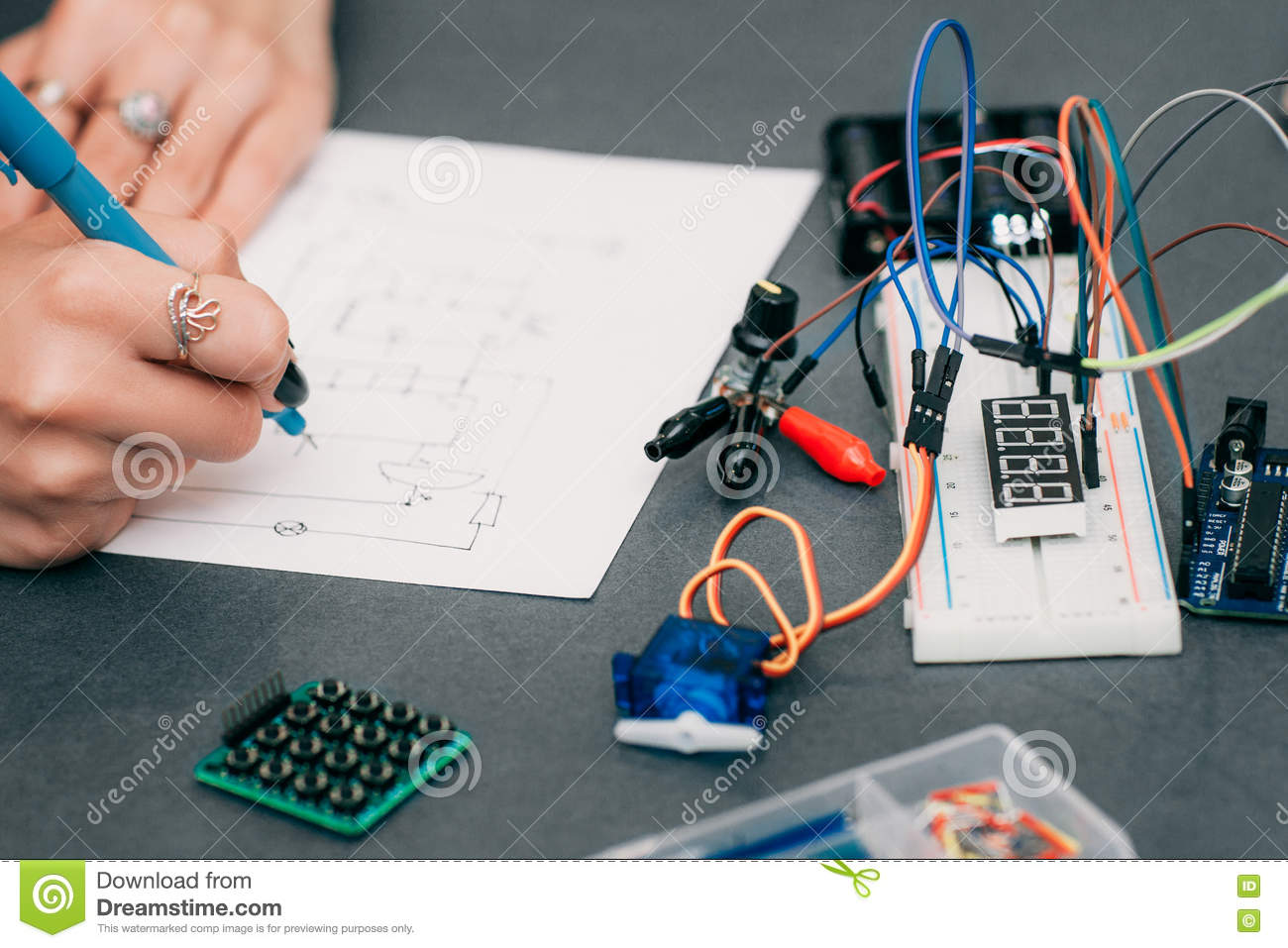 hight resolution of wiring diagram drawing with breadboard electronic construction developing female engineer in laboratory smart woman hobby and electronics concept