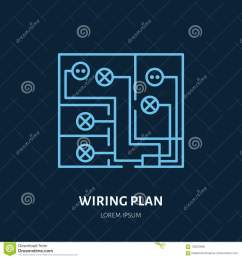 wiring plan flat line icon vector sign of electrical service electricity cables in house  [ 1300 x 1390 Pixel ]
