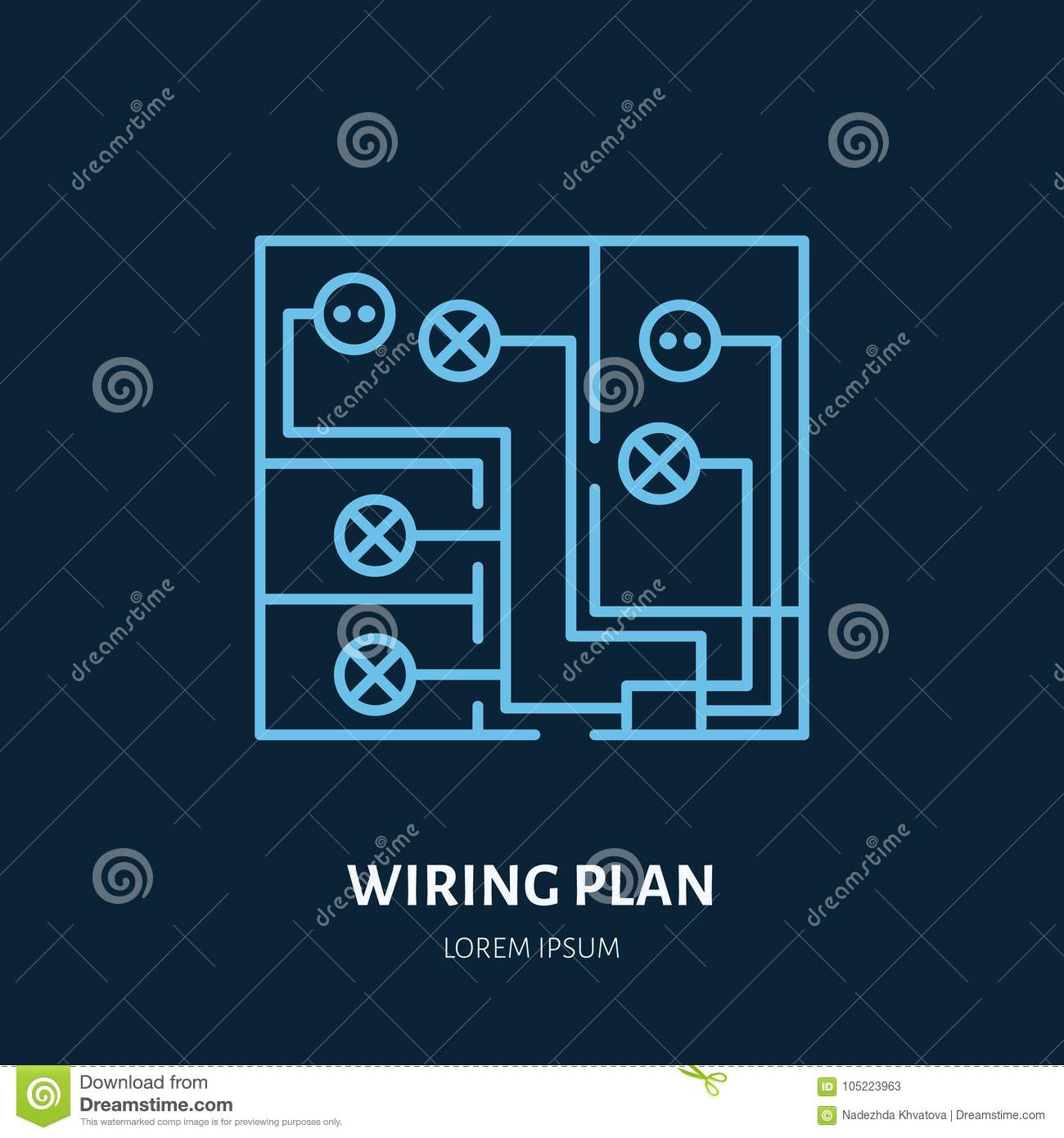 hight resolution of wiring plan flat line icon vector sign of electrical service electricity cables in house