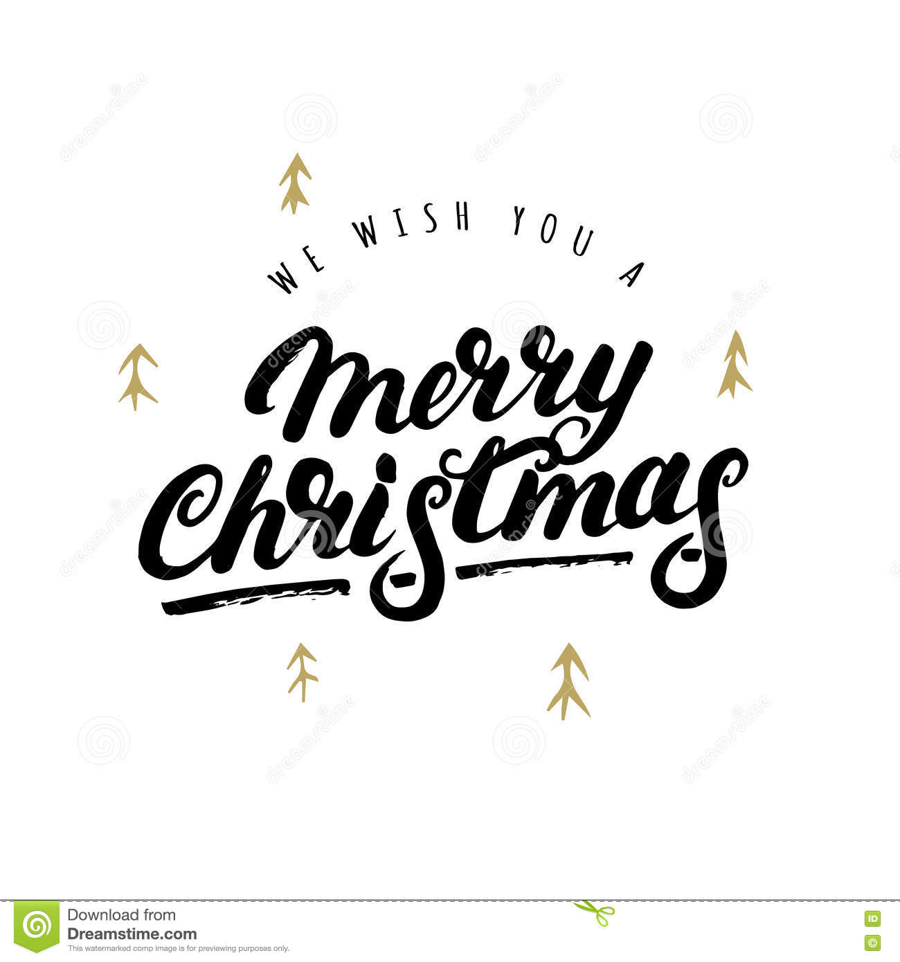 We Wish You A Merry Christmas Hand Written Lettering