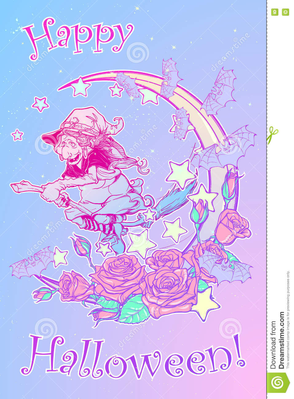 Cute Mermaids Wallpaper Witch Flying On A Broom Decorative Pastel Goth Background