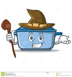 kitchen cartoon witch character vector cooking