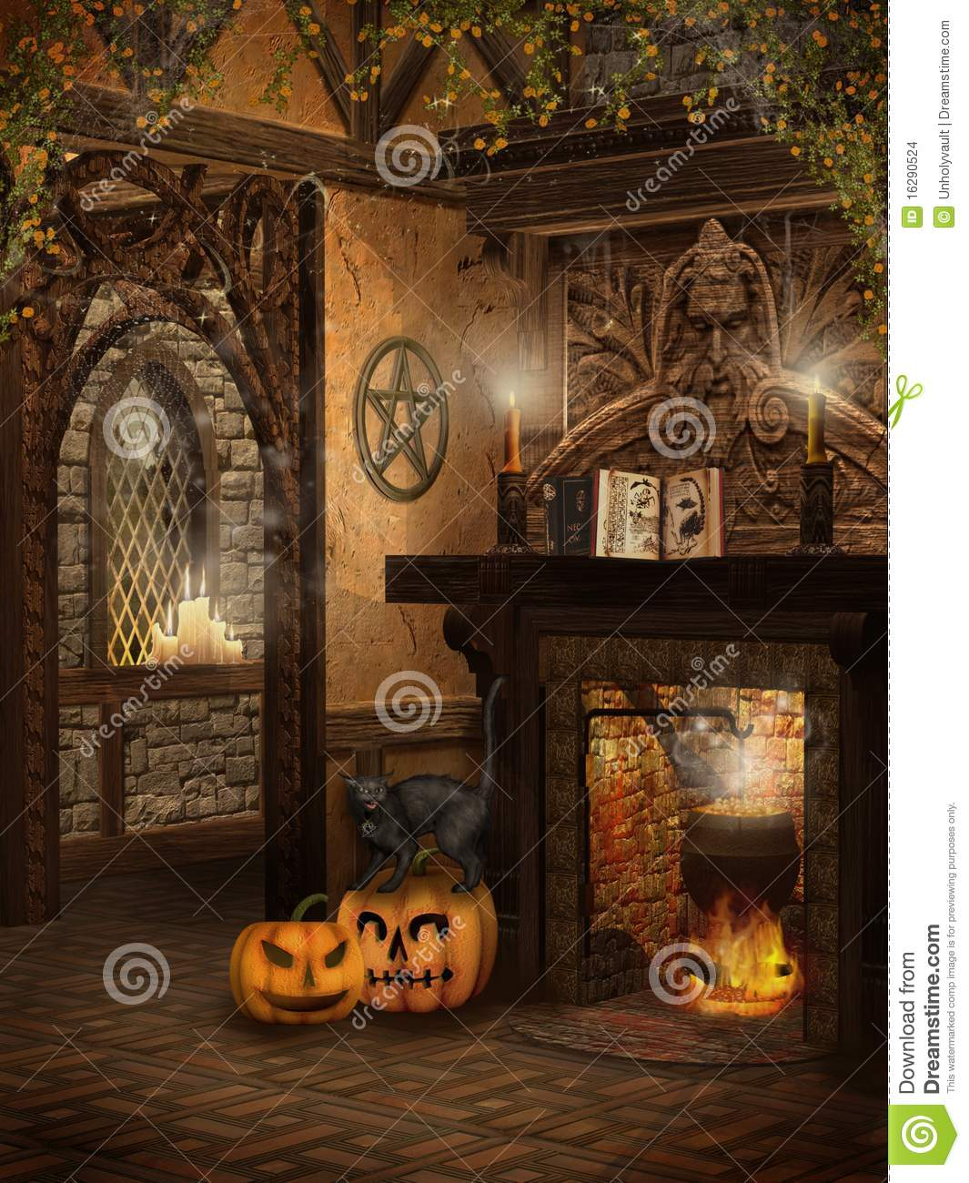 Witchs Cottage With Pumpkins Stock Illustration