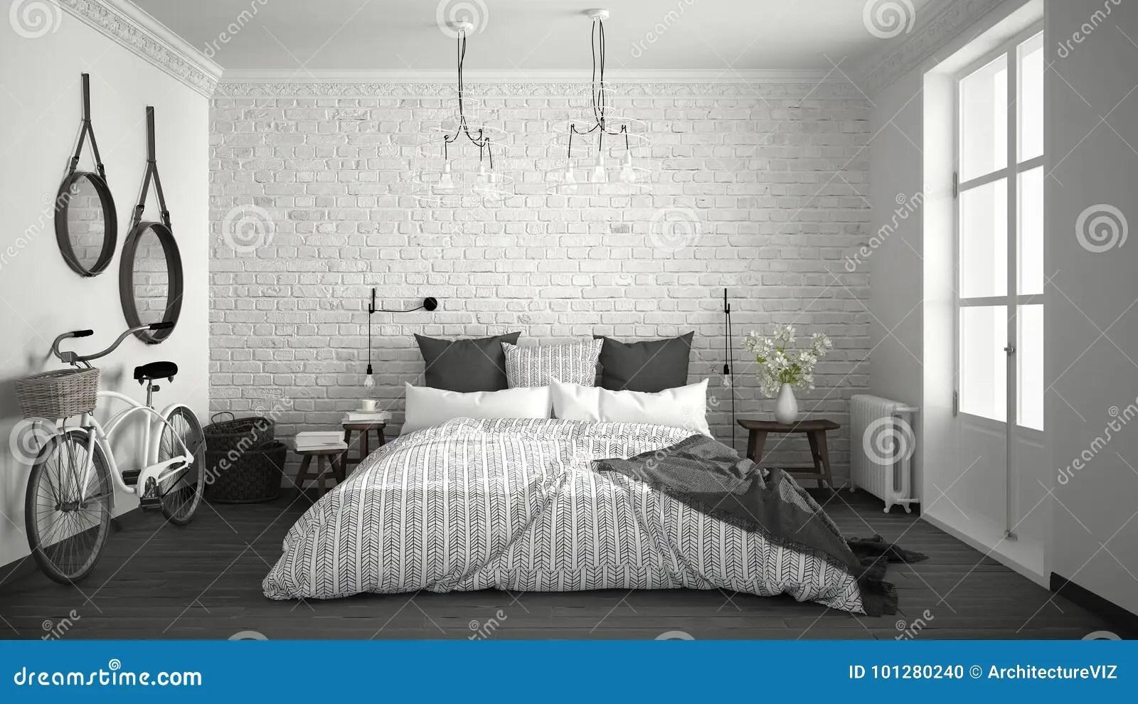 Witte En Grijze Moderne Slaapkamer Met Comfortabel