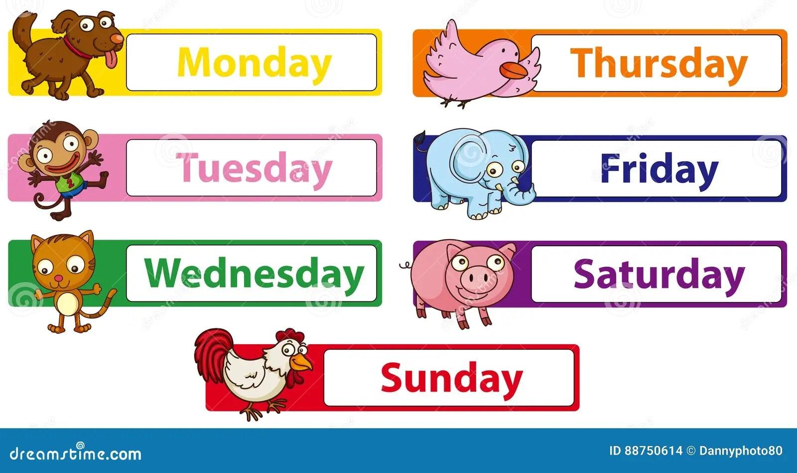 Wochentage Mit Tieren Auf Den Zeichen Vektor Abbildung