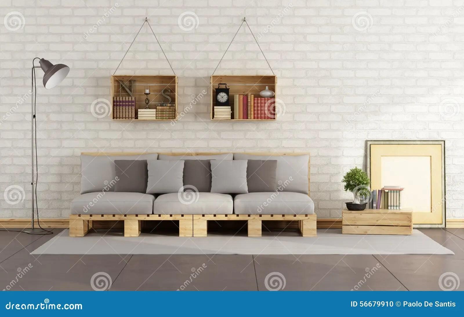 Wohnzimmer Mit Palettensofa Stock Abbildung  Illustration