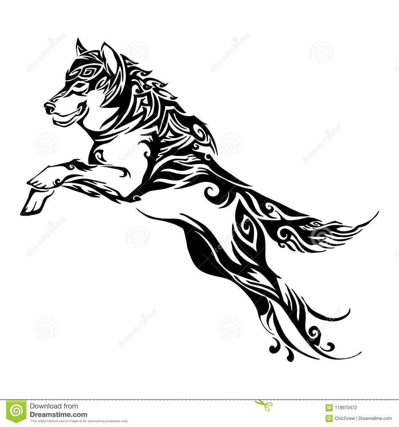 Wolf Jump Design For Silhouette Tribal Tattoo Stock