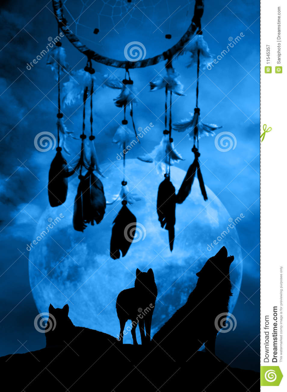 Native American Wallpaper Iphone Wolves And Dreamcatcher Stock Illustration Image Of