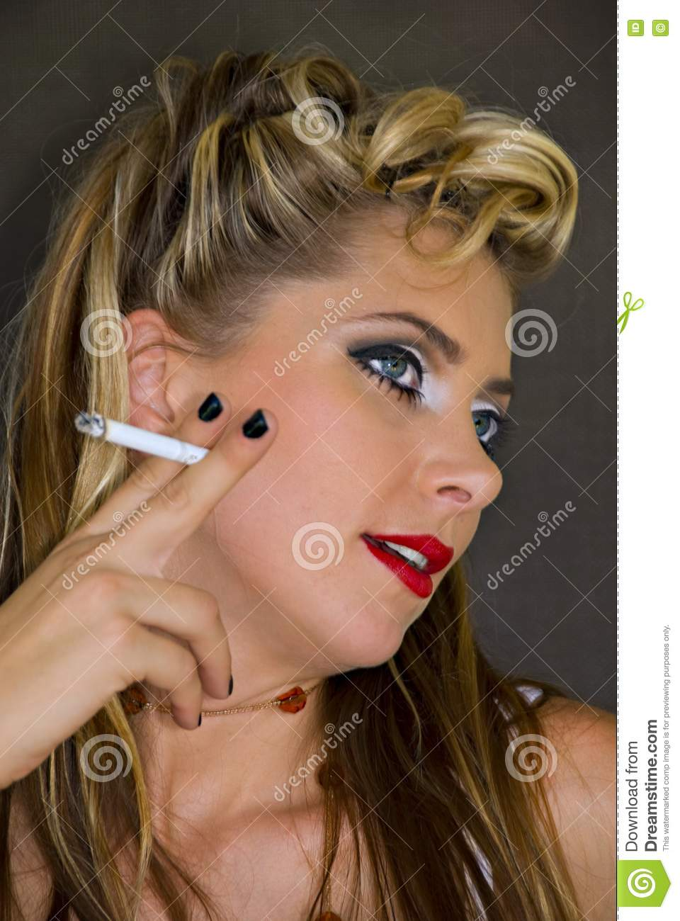 Woman in 1950 style makeup stock image Image of elegant  2956093