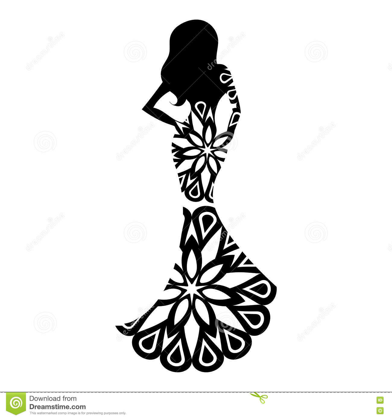 Woman In The Ball Gown Silhouette Stock Vector