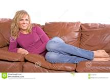 Woman Barefoot Couch Royalty Free Stock