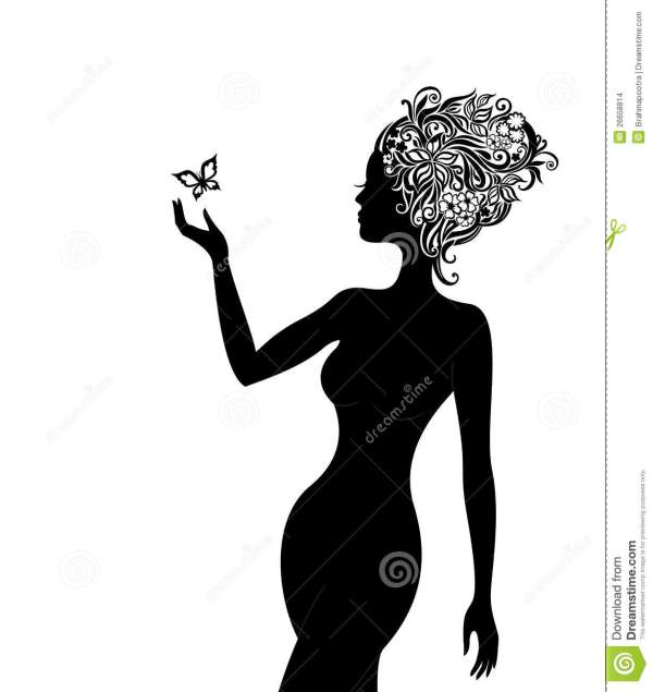 Woman With Beautiful Flowers In Hair Stock - 26658814