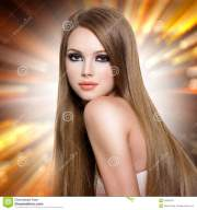 woman with beautiful long straight