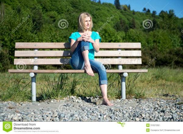 Woman Bench Stock Of Comfortable Relax
