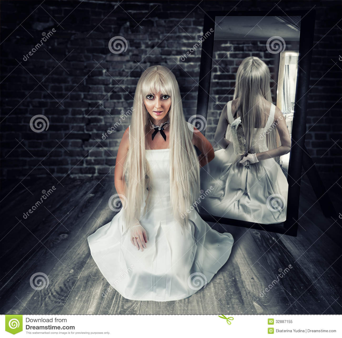 Woman With Big Knife In Mirror Reflection Stock Image