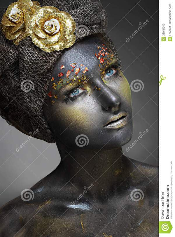 Woman With Black Face Stock Of Body Cosmetics - 35045942
