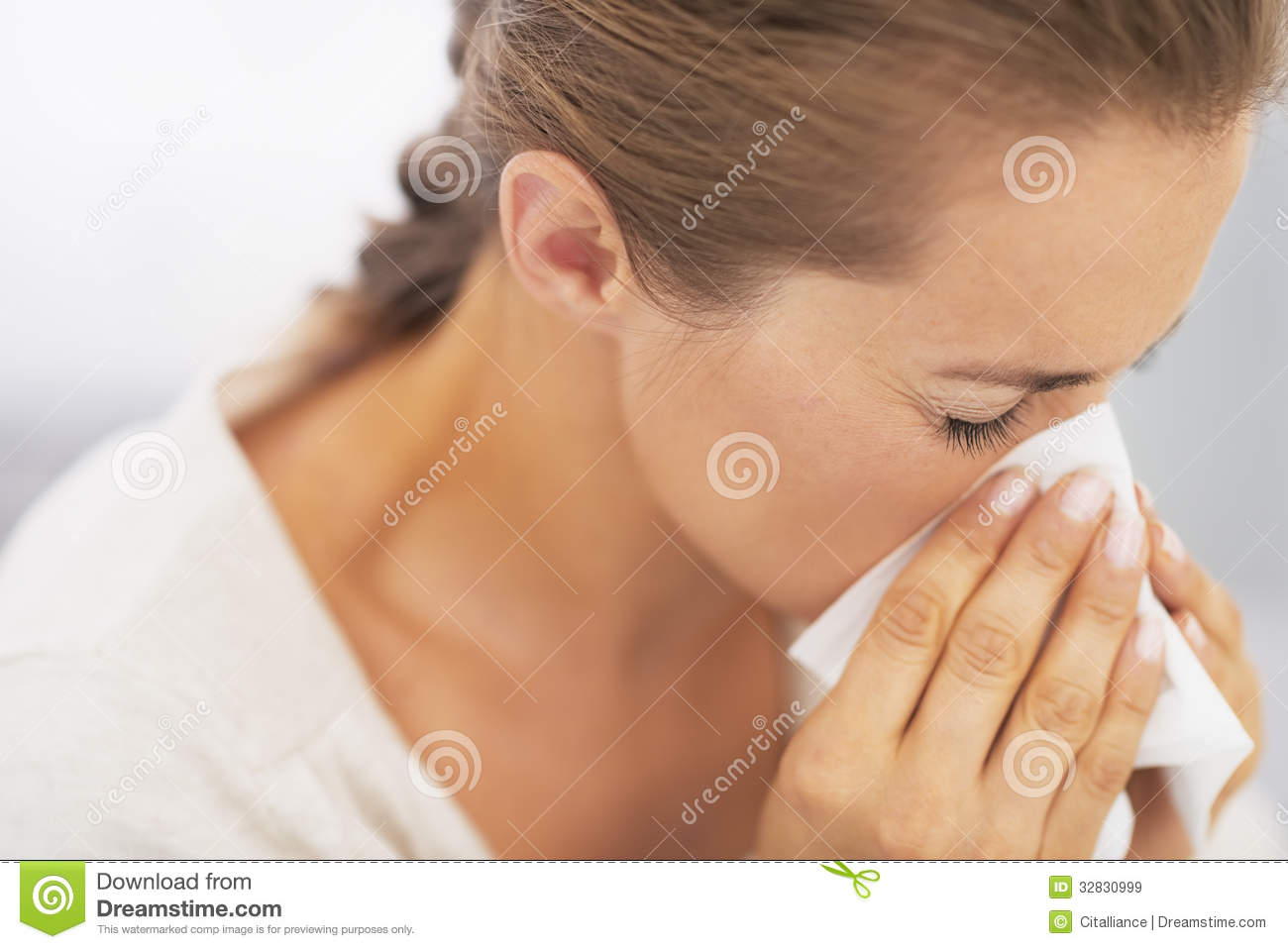 Woman Blowing Nose Into Handkerchief Stock Image  Image 32830999