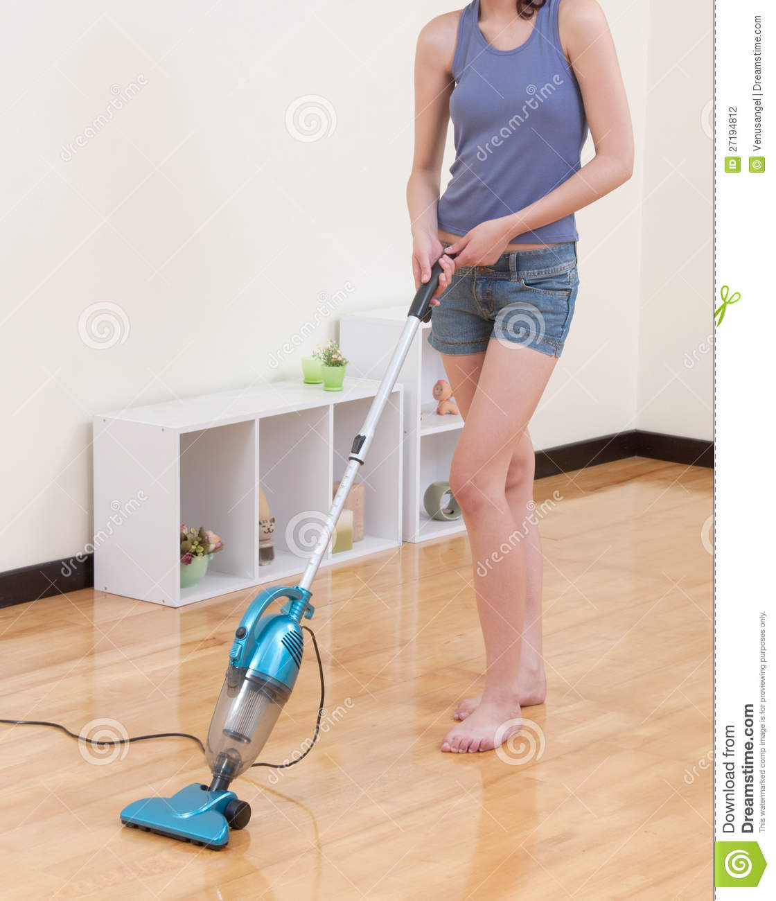 Woman Cleaning The Floor With Vacuum Cleaner Stock Photography  Image 27194812