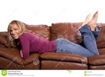 Woman Couch Feet Stock Of Laying Cute