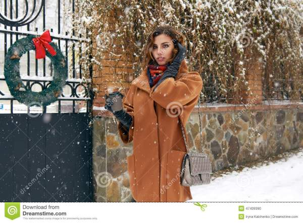 Woman With Cup Of Coffee Walk Snow Street Christmas Year Stock