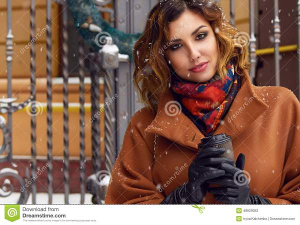 Woman With Cup Of Coffee Walk Snow Street Christmas Year Stock - 48829052